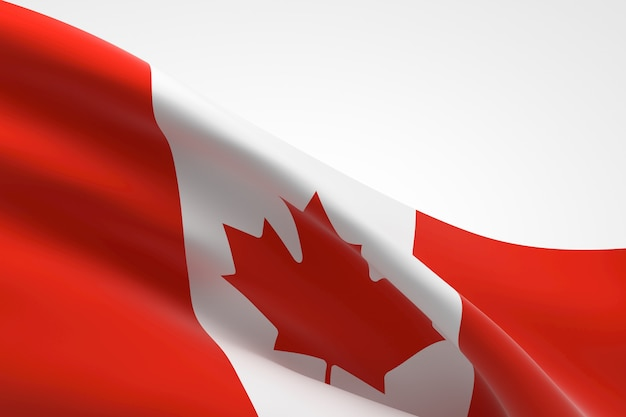 3d render of the canadian flag waving.