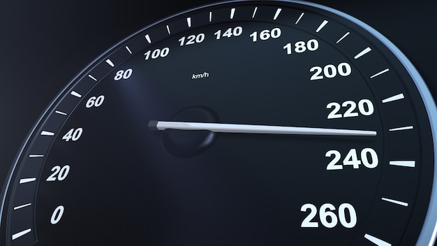3d 렌더링 자동차 속도계 macroplane 얻는 속도