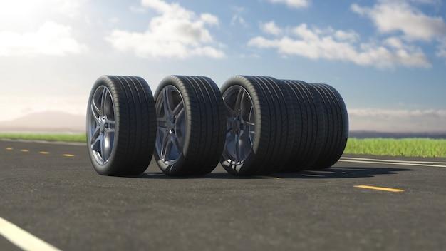 3d рендеринг автомобильных шин, катящихся по асфальту летом в 4k