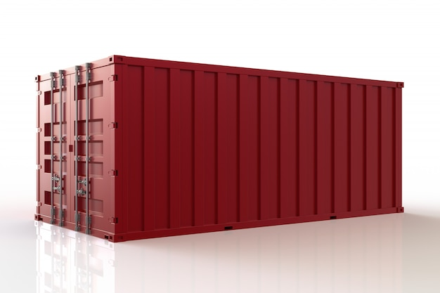 3d render cargo container ship, import and export, on white background