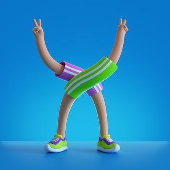 3d визуализации персонажей мультфильма гибкие части тела. руки и ноги, изолированные на синем фоне.