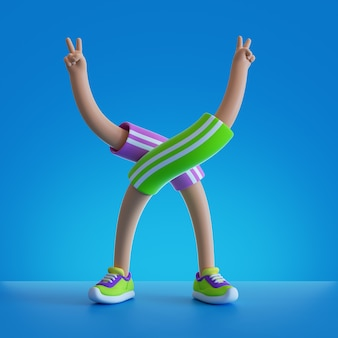 3d render cartoon character flexible body parts. hands and legs isolated on blue background.