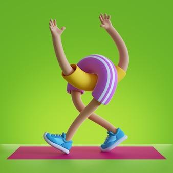 3d визуализации мультипликационный персонаж гибкие части тела, изолированные на зеленом фоне.