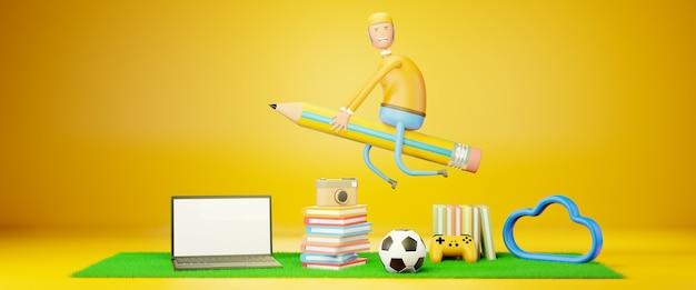 3 d レンダリングの漫画のキャラクターの男が子供のおもちゃやピンク イエローのオブジェクトの上を大きな鉛筆で飛んでいます。