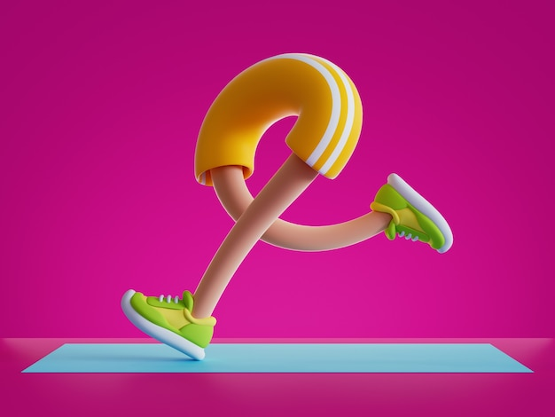 3d render cartoon character legs run, training routine on blue mat, physical activity at home.