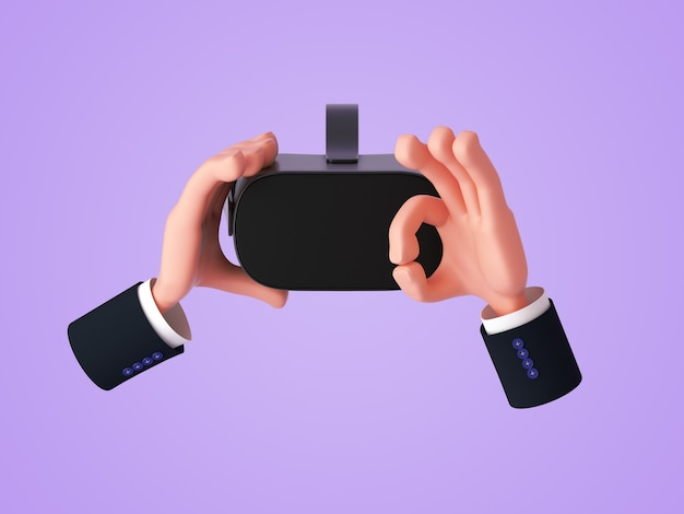 3d render, cartoon hand holding virtual reality headset or glasses and gesturing ok sign