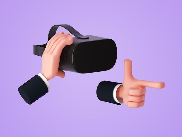 3d визуализация, мультяшная рука, держащая гарнитуру виртуальной реальности или очки и показывающая жест пистолета