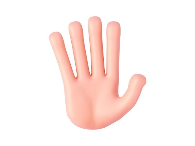 3dレンダリング、漫画の手は、5本の指が開いている手のひらまたは一時停止の標識を示しています。指を数えるジェスチャー
