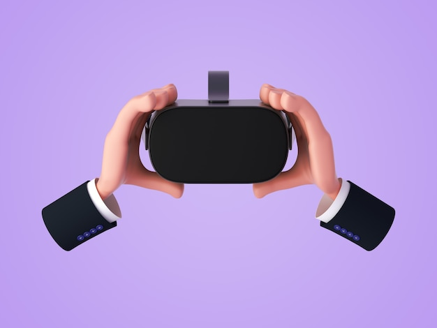 3d render, cartoon hands holding virtual reality headset or glasses