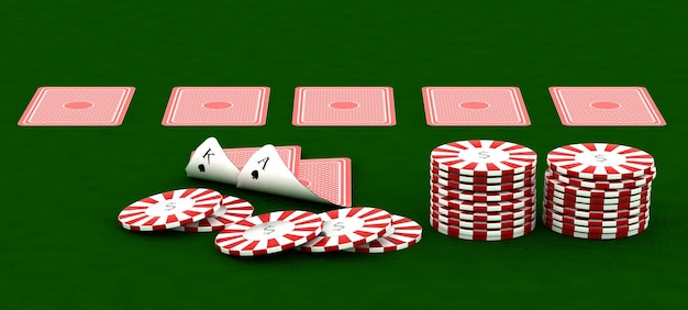 3d render of casino chips and poker
