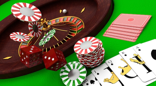 3d render of casino items