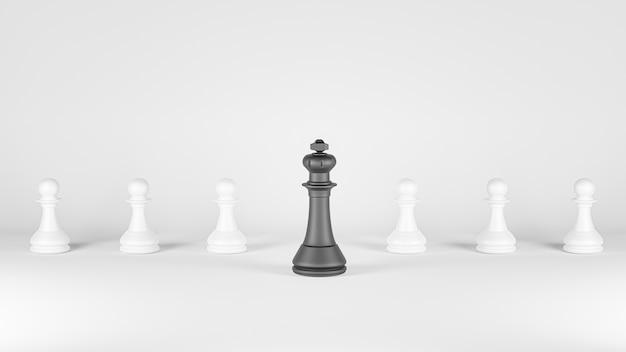 3d визуализация. шахматная настольная игра для концепций лидерства.