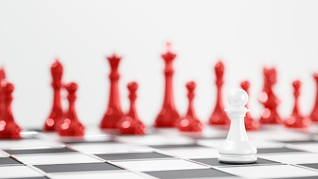 3d render. chess board game for leadership concepts.
