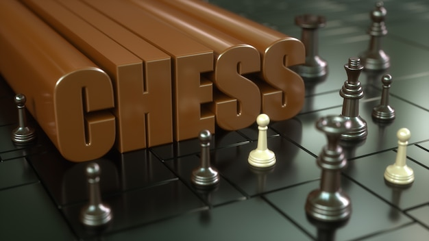 3d render. chess board and pieces