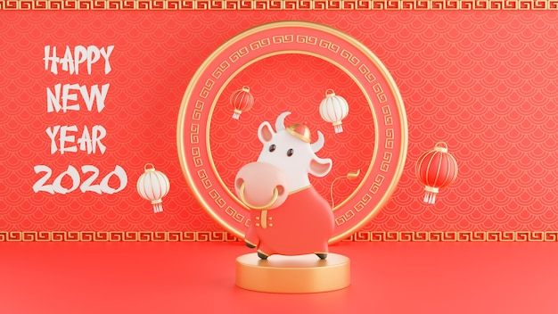 3d render of chinese ox new year 2021
