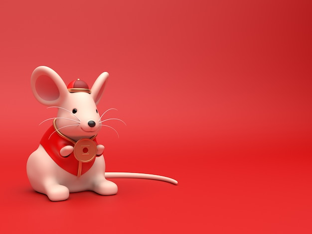 3d render of chinese rat for celebrate chinese new year