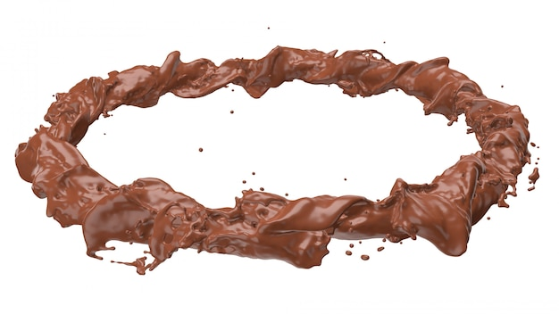 3d render of chocolate spinning into a round shape, clipping path included.