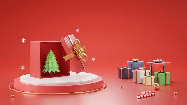 3d визуализация рождество и новый год открытая подарочная коробка