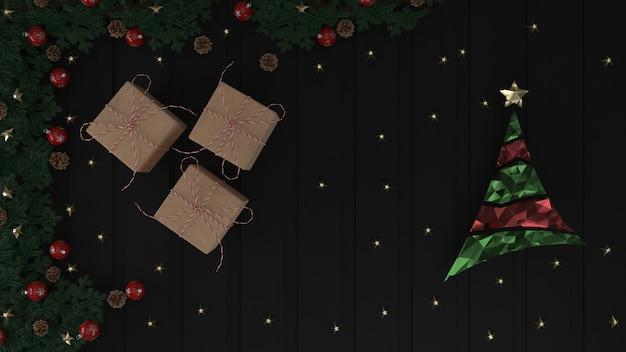 グリーティングカードの3 dレンダリングクリスマス背景