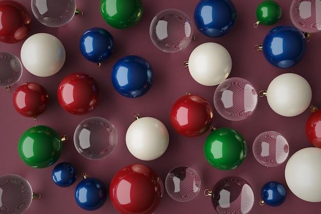 ピンクのキャンバスにさまざまな色の赤青緑のクリスタルのクリスマスボールを3dレンダリング