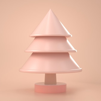 3d render of christmas look minimal toy of christmas tree on pink pastel