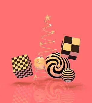 3d визуализации интерьер рождественской студии с золотой платформой.