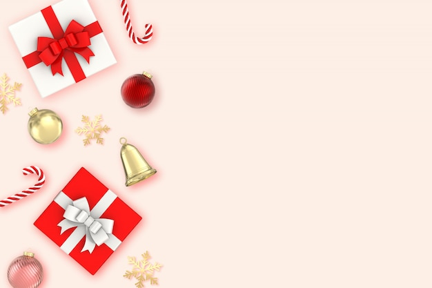 3d render christmas surface two gifts box, snowflakes, candy, bells, christmas ball and gold decorations on pink surface