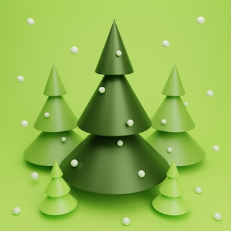 3d render christmas tree scene with snow