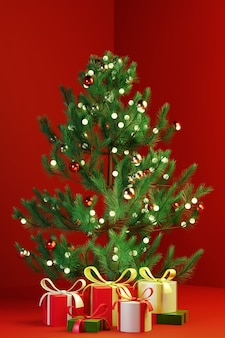 3d render christmas tree with gift present box