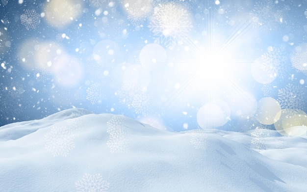 3d render of a christmas winter snowy landscape