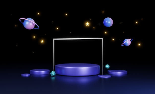 3d 렌더링, 우주선 개념, 네온 푸른 밤 빛, 추상 미래의 배경에서 원형 무대