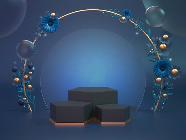 化粧品または別のオブジェクトの3 dレンダリングクラシックブルー表彰台背景。オブジェクト表示の背景は花で飾ります。
