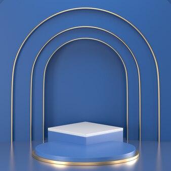 3d представляют классический голубой подиум для продукта дисплея.
