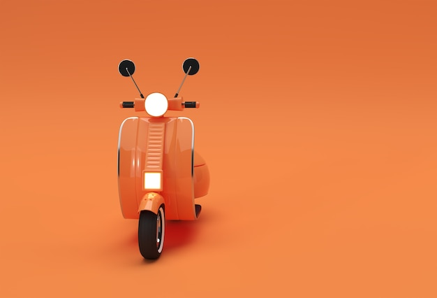 3d render classic motor scooter front view on a orange background.