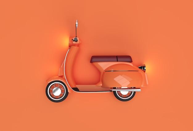 3d 렌더링 오렌지 배경에 클래식 모터 스쿠터 측면 보기.