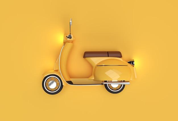 노란색 배경에 3d 렌더링 클래식 모터 스쿠터 측면 보기.