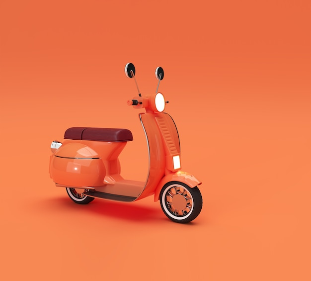 3d render classic motor scooter side view on a orange background.