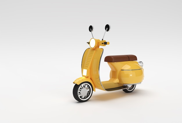3d render classic motor scooter side view on a white background.
