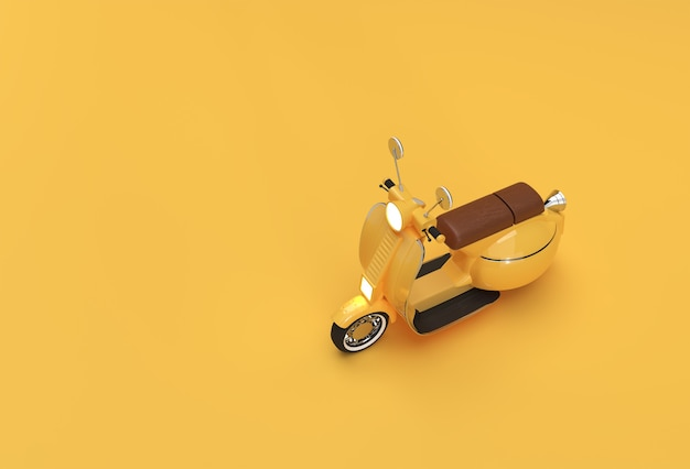 3d render classic motor scooter side view on a yellow background.