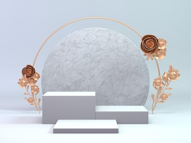 化粧品または任意のオブジェクトの3 dレンダリングクラシックホワイトとゴールドの表彰台は、花のリングで飾る。背景オブジェクト表示製品。 Premium写真