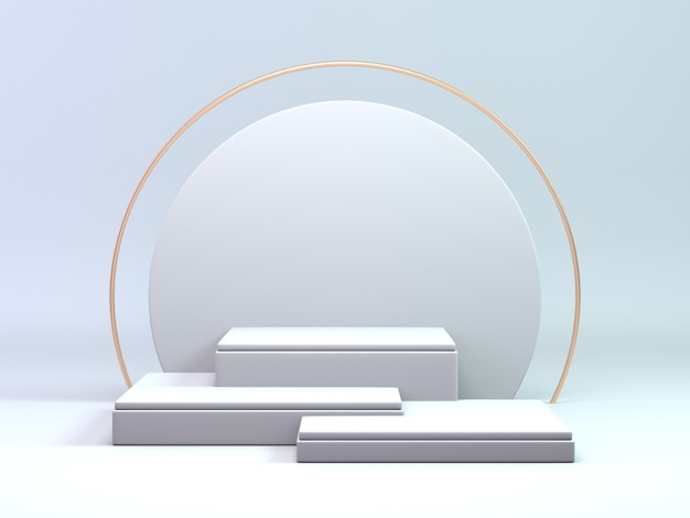 3d render classic white and gold podium for cosmetic or beauty product background luxury podium stand.