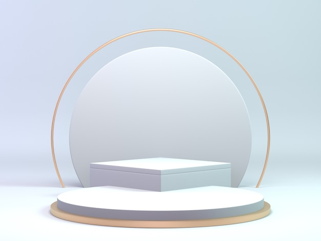 3d render classic white and gold podium for cosmetic or beauty product. background luxury podium stand.