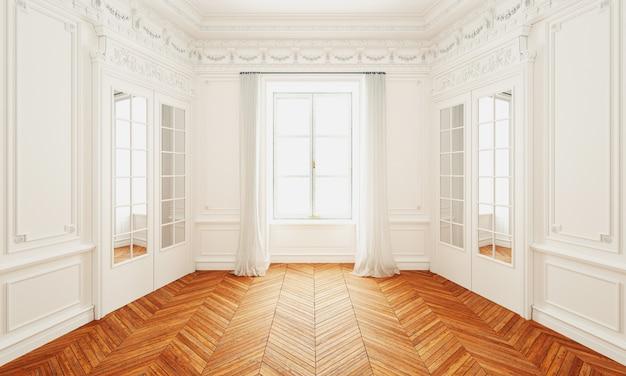 3dレンダリングクラシックな白い壁のインテリアと寄木細工の床とモダンなフレーム