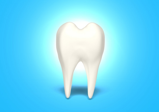 3d render clean tooth for healthy