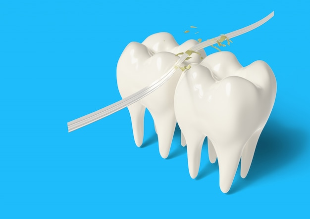 3d render clean tooth with dental floss