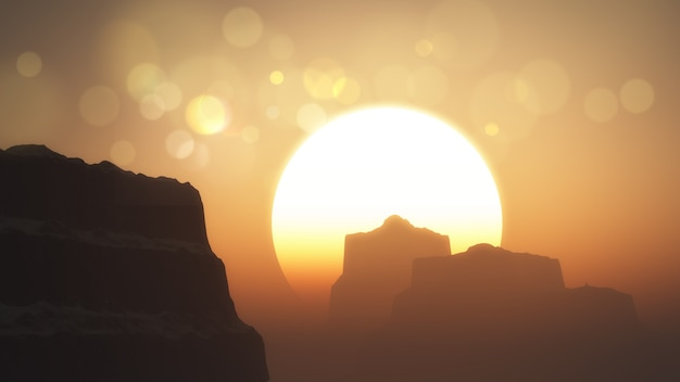 3d render of cliffs and mountains at sunset