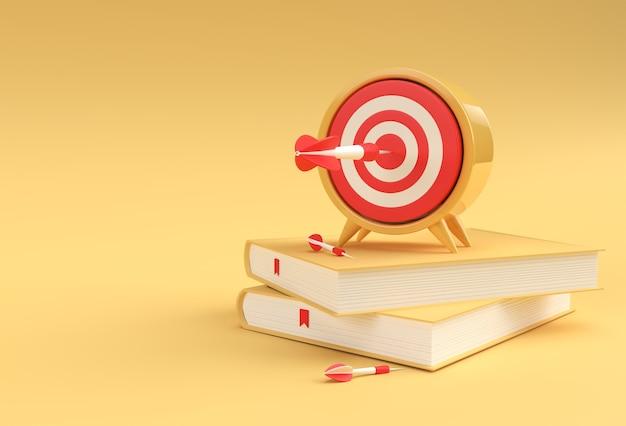 최소한의 스타일 그림에서 책과 3d 렌더링 시계.