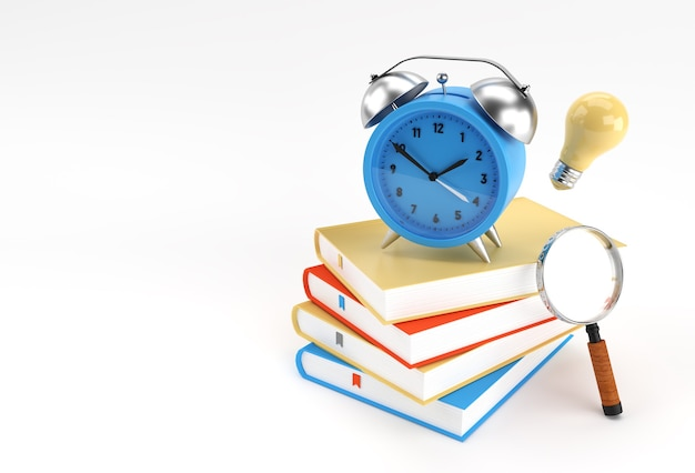 3d render clock with books in minimal style illustration.