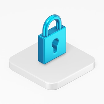 3d 렌더링 흰색 배경에 고립 된 흰색 사각형 버튼 키에 파란색 자물쇠 아이콘을 닫습니다.