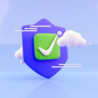 3d визуализация облачные вычисления и концепция безопасности хранения: глянцевый щит защиты значка облака, изолированные на синем фоне с эффектом отражения. 3d визуализация иллюстрации.